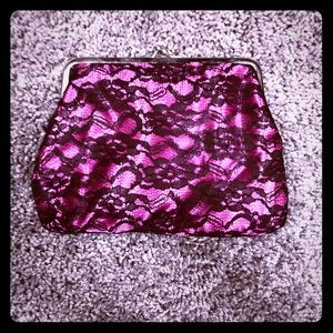 Handbags - Pinkish purple black lace clutch